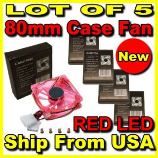 Lot 5 80mm PC Computer Desktop Red LED Case Fan 4 3pin