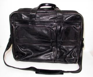 Tumi All Leather Black Messenger Laptop Soft Briefcase Bag