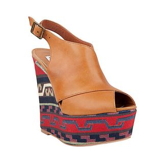 Steve Madden Elissaa Cognac Multi Womens Peep Toe Size 6 M