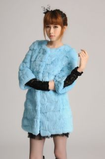 Colors New Womens Girls Real Rabbit Fur Winter Warm Long Coat
