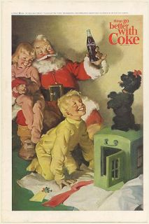 1964 Coke Coca Cola Bottle Santa Claus Poodle Dog Boy Girl Christmas