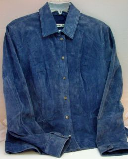 Coldwater Creek Women L Blue Suede Leather Jacket