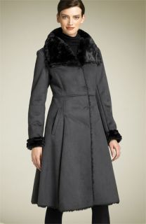 Calvin Klein Faux Shearling Fit & Flare Coat