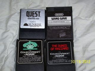 Colecovision Game Lot Of 4 RARE Games Dukes Hazzard Quest Cabbage Wing