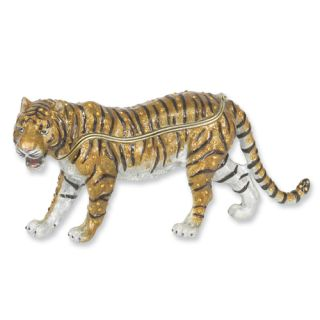 Plated Enameled Crystal Large Tiger Trinket Box CLOSEOUT Item