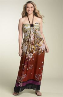 Adrianna Papell Silk Halter Maxi Dress (Plus)