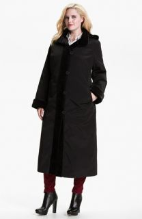 Gallery Long Storm Coat with Faux Fur Lining (Plus)