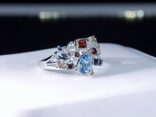 Diamond Blue Topaz Garnet Amethyst Aqua Citrine Sapphire Ring