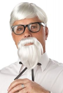 70106 The Colonel Sanders Wig Moustache White Funny Halloween Costume