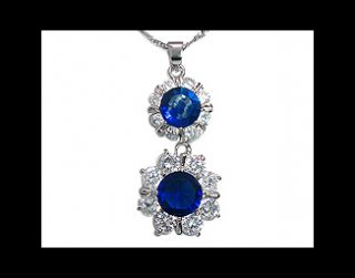 Fashion Jewelry Gift Blue Sapphire White Gold Plated Pendant Necklace
