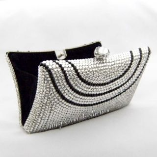 Silver SWAROVSKI CRYSTAL Evening Bag, Girls Prom Party Clutch Purse