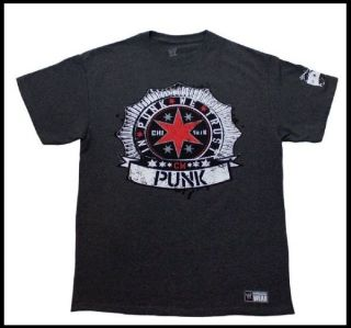 CM PUNK Shirt Authentic Gray T Shirt In Punk We Trust Brand NEW