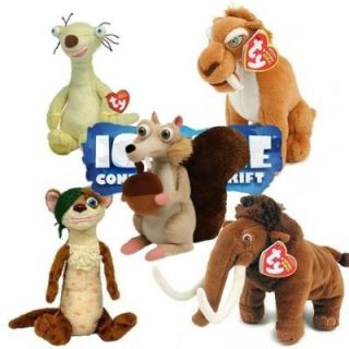 Ty Beanie Babies Ice Age Plush Toys Collectibles Diego Sid Manny Scrat