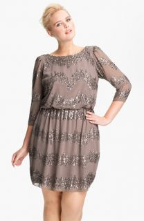 Adrianna Papell Beaded Drop Waist Dress (Plus)