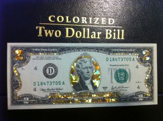 22 K GOLD 2 DOLLAR HOLOGRAM COLORIZED BILL LEGAL NOTE GIFT MONEY GOLD