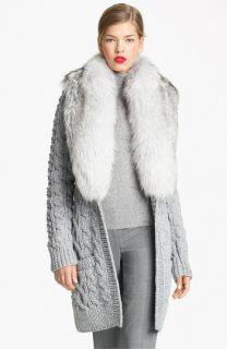 Michael Kors Genuine Fox Fur Collar Cardigan