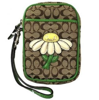 Coach Signature Daisy Motif Multi Pouch Camera Cell Phone Case Holder