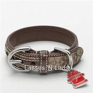 NWT COACH Signature Leather Dog Collar Fire Hydrant Charm Medium 13 16