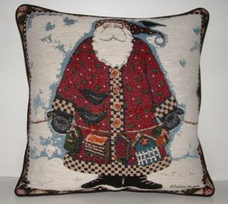 Christmas Santa w Birds Birhouses by Debbie Mumm Tapestry Pillow New