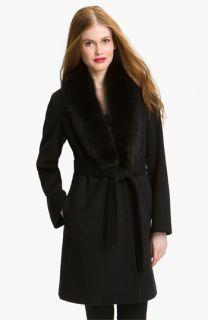 Fleurette Loro Piana Wool Wrap Coat with Genuine Fox Fur (Online Exclusive)