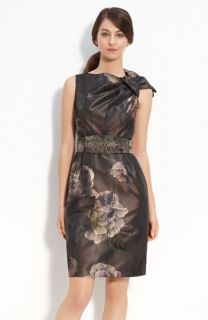 Teri Jon Bow Detail Brocade Sheath Dress