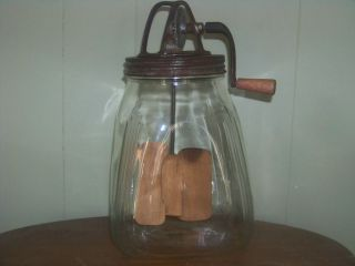 Antique Butter Churn 4 Qt with Wood Paddle