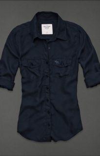 Abercrombie Women Brett Button Down Shirt 100 Silk Long Sleeve Navy $