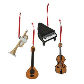 Classical Music Christmas Tree Ornaments 4 PC Lute Guitar Violin Piano