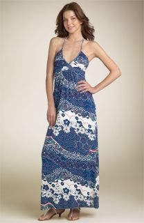 Eight Sixty Print Knit Maxi Dress with Braided Halter