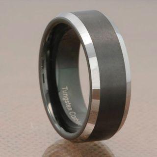 Carbide Beveled Black Stripe Comfort Fit Wedding Band Ring