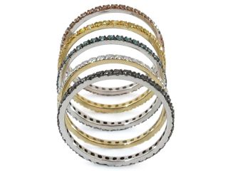 10K or 14k Gold Solid Multi Color Diamond 1 5mm Eternity Stackable