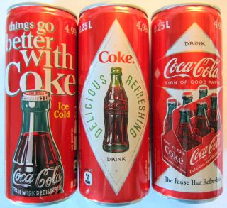 Set of 3 Coca Cola Cans Rare Croatia Full Unopened Coke Soda Retro 125