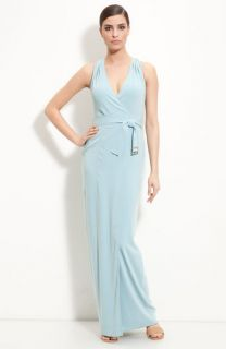 St. John Collection Belted Faux Wrap Gown