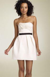 BCBGMAXAZRIA Strapless Floral Appliqué Dress