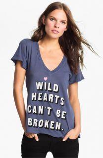 Wildfox Wild Hearts Graphic Deep V Neck Tee