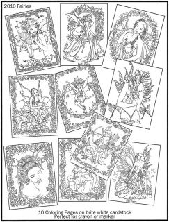Fairy Angels 2010 Coloring Book 8x11 Fantasy 10 Pages Crayola Paint