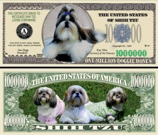A Full Color Shih Tzu Dog Bill 100 $13 99