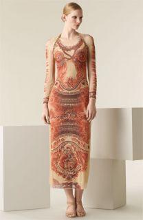 Jean Paul Gaultier Tattoo Print Tulle Dress with Shrug