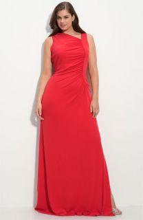 Calvin Klein Ruched Matte Jersey Gown (Plus)
