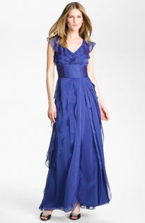 Adrianna Papell Tiered Chiffon Gown (Petite)