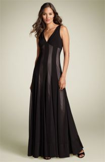 Maggy London Sleeveless Mesh & Matte Jersey Maxi Dress