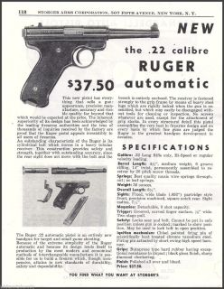 STURM, RUGER .22 Automatic PISTOL AD Collectible Firearms Advertising