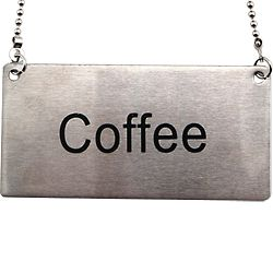 Stainless Steel Hanging Chain Coffee Sign Label