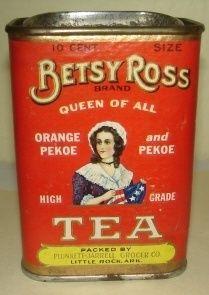 Vintage Betsy Ross Tea Tin 1 4 lb Size