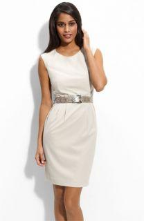 Calvin Klein Stretch Luxe Belted Sheath Dress