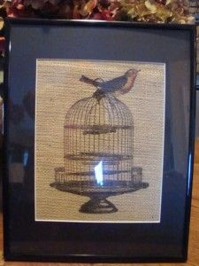 Burlap Print Matted and Framed Bird Cage with Color Bird