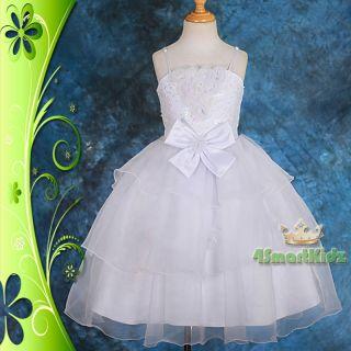 CLEARANCE SALE White Wedding Flower Girl Flowergirl Party Dress Sz 5