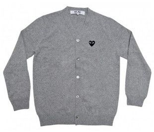 COMME Des GARCONS CDG PLAY HEART MEN CARDIGAN SWEATER GRAY XLARGE