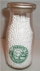 CLEARVIEW FARM 100% Jersey Butler, PA. Half Pint MILK BOTTLE   Green