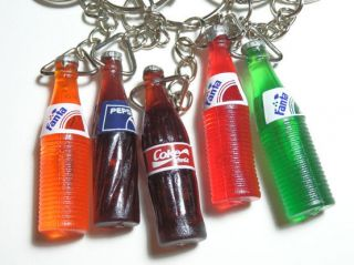 Lot of 5 Keychains Coke Fanta Pepsi Pop Soda Bottles